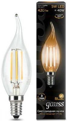 купить Лампа светодиодная Gauss E14 5W 2700K свеча на ветру прозрачная 1/10/50 104801105 по цене 70 рублей
