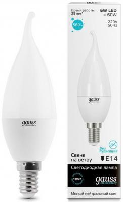 Лампа светодиодная E14 6W 4100K свеча на ветру матовая 34126 лампа энергосберегающая 03861 e14 12w gold свеча на ветру витая золотая esl c21 tw12 gold e14