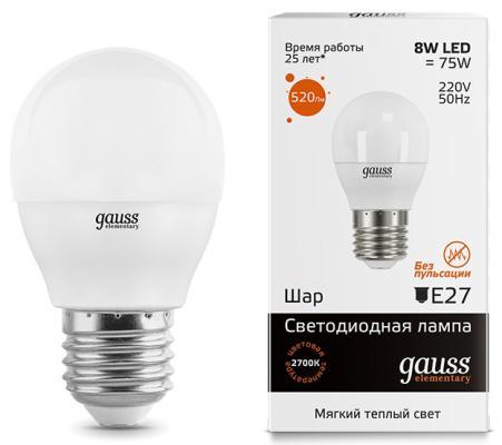 Лампа светодиодная шар Gauss Elementary Globe E27 8W 2700K 53218