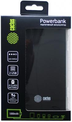 Портативное зарядное устройство Cactus CS-PBAS282 5000мАч черный серый портативное зарядное устройство canyon cns tpbp5w 5000мач белый