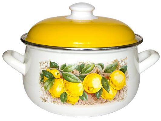 """Кастрюля INTEROS """"Лимоны"""" 20 см 4 л эмалированная сталь 15842"""