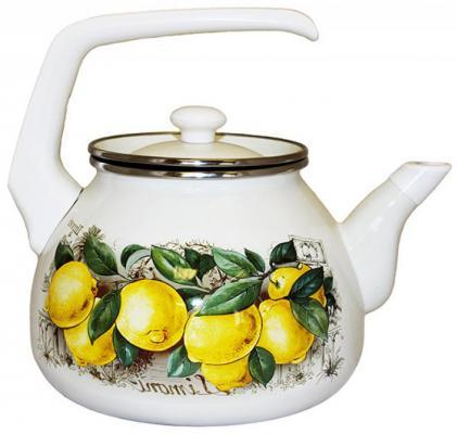 """Чайник INTEROS """"Лимоны"""" белый с рисунком 3 л металл 15842 от 123.ru"""