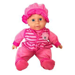 Пупс Shantou Gepai в розовом костюмчике с рюшами 30 см со звуком