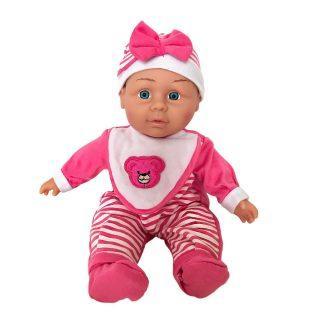 Пупс Shantou Gepai в розовом костюме в полоску с бантом 30 см со звуком