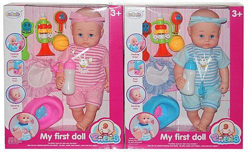 Пупс Shantou Gepai My First Doll 40 см со звуком пьющая писающая кукла shantou gepai my baby 30 см со звуком пьющая писающая