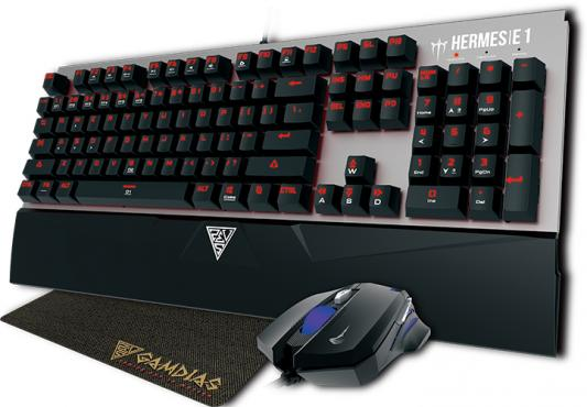 Фото - Клавиатура проводная GAMDIAS HERMES E1 + мышь DEMETER E2 + коврик NYX:E1 GAMING MOUSE MAT USB серебристый черный GM-GKHE1bk gamdias ares 7 color combo клавиатура мышь