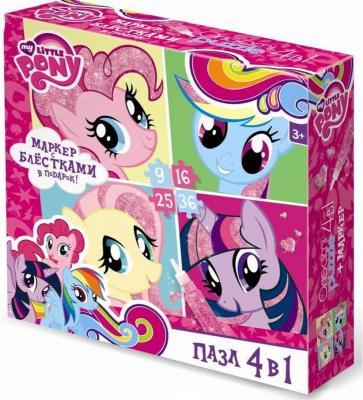 Пазл 4-в-1 ОРИГАМИ My Little Pony 9-16-25-36 элементов origami чудо тв my little pony™ набор аппликаций 3в1 понивиль песок фольга eva в короб арт 03196