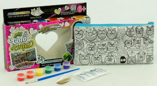 Набор для творчества ДАНКО-ТОЙС My Color Clutch клатч-пенал Совы -раскраска красками и блестками 322858 от 6 лет клатч galib клатч