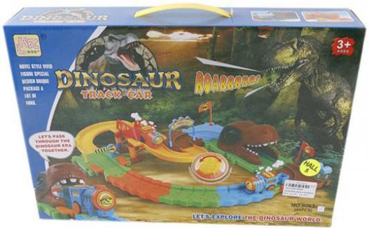 Купить Трек Shantou Gepai Мир динозавров, поезд 1шт., Пластик, Для всех, Гаражи, парковки, треки