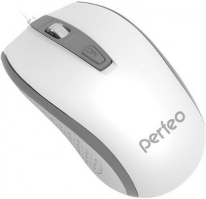 Мышь проводная Perfeo PF-383-OP-W/GR белый серый USB