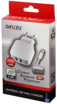 Сетевое зарядное устройство GINZZU GA-3010UW 8-pin Lightning 2 х USB 2.1A белый сетевое зарядное устройство ginzzu ga 3311ub 2 х usb 3 1а черный
