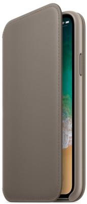 Чехол-книжка Apple Leather Folio для iPhone X платиново-серый MQRY2ZM/A apple leather folio чехол для iphone x taupe