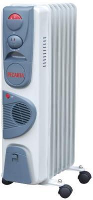Масляный радиатор Ресанта ОМ-7НВ 1900 Вт термостат ручка для переноски колеса для перемещения белый серый