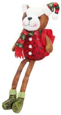 """Мягкая игрушка Новогодняя сказка """"Собачка"""" текстиль 33 см с рюкзаком для подарка"""