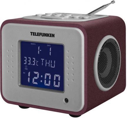 Часы с радиоприёмником Telefunken TF-1575 бордовый