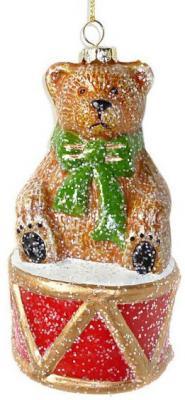 Елочные украшения Новогодняя сказка Мишка с барабаном разноцветный 12.5 см 1 шт пластик