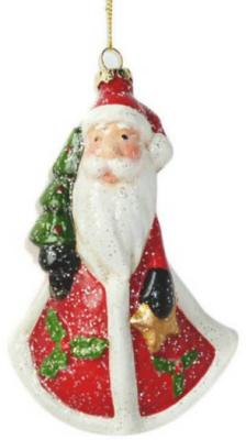 """Елочные украшения Новогодняя сказка """"Дед Мороз"""" разноцветный 13 см 1 шт пластик"""