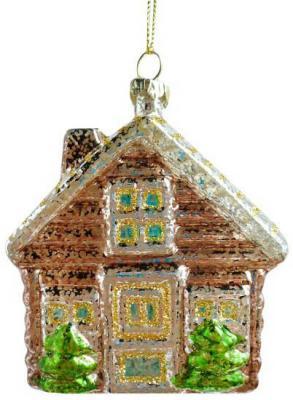 Елочные украшения Новогодняя сказка Домик 9.5 см 1 шт пластик елочные украшения ewa eco wood art набор елочных игрушек комплект