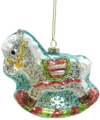 Елочные украшения Новогодняя сказка Лошадка белый 11 см 1 шт пластик 972879