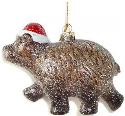 Елочные украшения Новогодняя сказка Мишка косолапый коричневый 13.5 см 1 шт пластик 972505