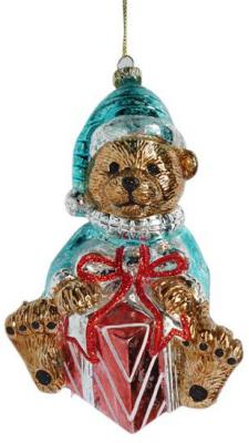 Елочные украшения Новогодняя сказка Мишка с подарком 13 см 1 шт пластик фигура новогодняя мишка с венком 39 см