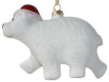 Елочные украшения Новогодняя сказка Северный мишка белый 13 см 1 шт пластик