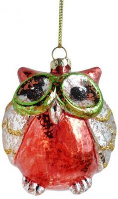 Елочные украшения Новогодняя сказка Сова разноцветный 7.5 см 1 шт пластик ol 6493 xeфигура сова сказка перед сном sealmark