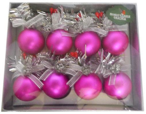 Набор шаров Новогодняя сказка 973082 розовый 4 см 8 шт пластик