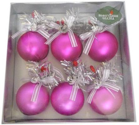 Набор елочных украшений Новогодняя сказка 5 см, 6 шт., розовый