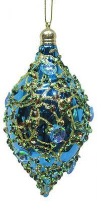 Елочные украшения Новогодняя сказка Капля голубой 7*14 см 2 шт пластик 972922