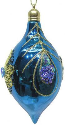 Елочные украшения Новогодняя сказка Капля голубой 7*14 см 2 шт пластик, текстиль. 972923 елочные украшения ewa eco wood art набор елочных игрушек комплект