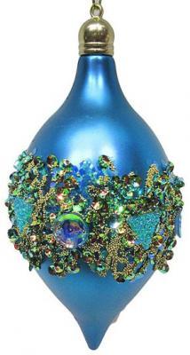 Елочные украшения Новогодняя сказка Капля в кристаллах голубой 7*14 см 2 шт пластик 972921 десерты капля радуги капля радуги медаль 45 г