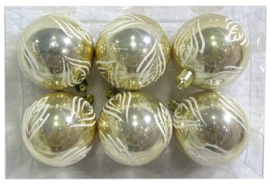 Набор шаров Новогодняя сказка 972892 золотой 6 см 6 шт пластик елочное украшение fora набор елочных шаров метелица fora 6 см 8 шт