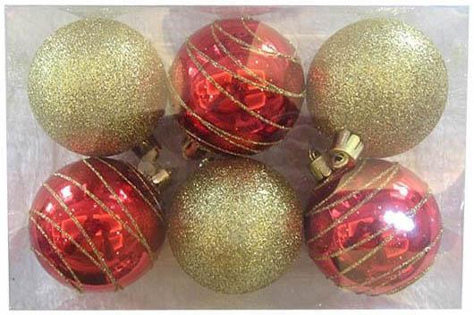 Набор шаров Новогодняя сказка красно-золотистые 6 см 6 шт пластик 972908 елочные украшения ewa eco wood art набор елочных игрушек комплект
