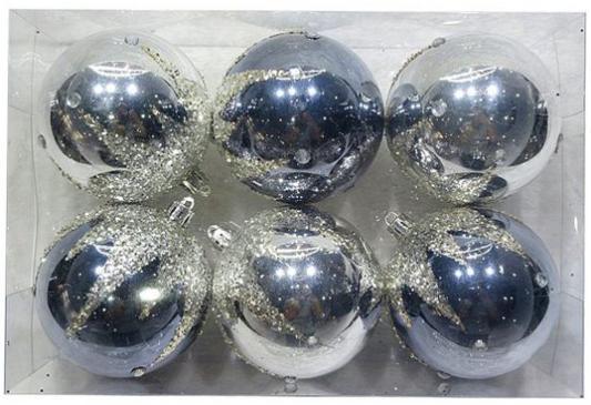 Набор шаров Новогодняя сказка 972926 серый 6 см 6 шт пластик набор шаров 6 см monte christmas набор шаров 6 см