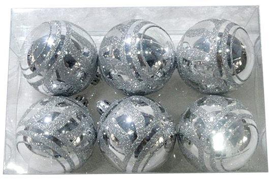 Набор шаров Новогодняя сказка 972929 серебро 6 см 6 шт пластик