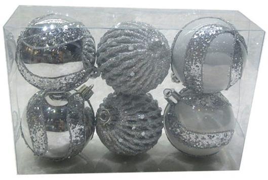 Набор шаров Новогодняя сказка 972927 серебро 6 см 6 шт пластик