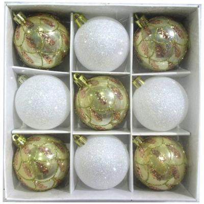 Набор шаров Новогодняя сказка бело-золотистые 6 см 9 шт пластик 972893 набор шаров новогодняя сказка 971970 синий 6 см 6 шт стелко