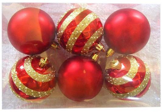 Набор шаров Новогодняя сказка 972910 красный 7 см 6 шт пластик крючки для елочных игрушек в москве