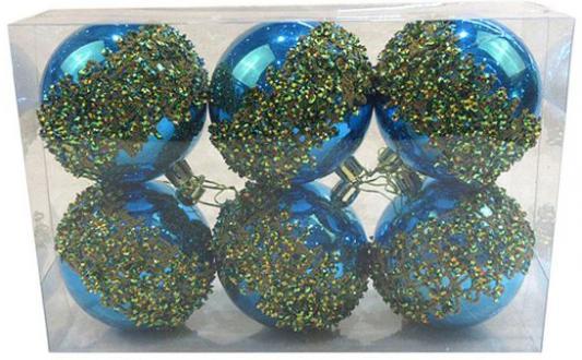 Набор шаров Новогодняя сказка 972914 голубой 8 см 6 шт пластик