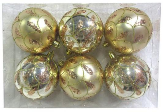 Набор шаров Новогодняя сказка 972887 золотой 8 см 6 шт пластик набор шаров пластик 100мм 2шт ледяное золото