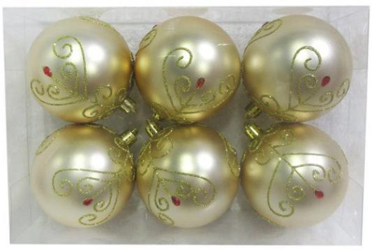 Купить Набор шаров Новогодняя сказка 972886 золотой 8 см 6 шт пластик, Елочные украшения