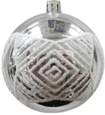 Набор шаров Новогодняя сказка 972932 серебро 8 см 6 шт пластик