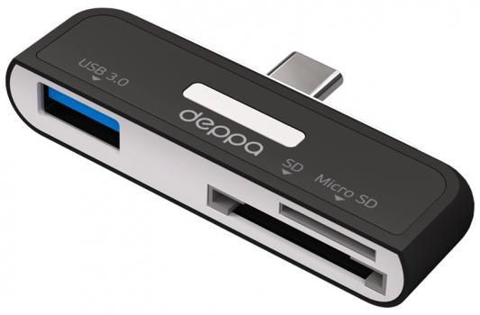 Картридер внешний Deppa 73117 USB-C-SD/microSD/USB 3.0 черный