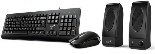 Комплект Genius KMS U130 черный USB клавиатура + мышь + колонки genius km 210 black комплект мышь клавиатура