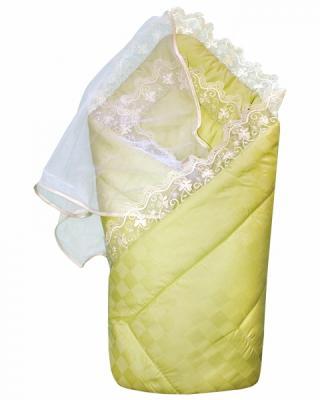Конверт-одеяло на выписку Золотой Гусь (сатин-жакард/зелёный) цены онлайн