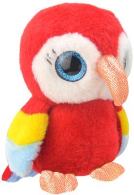 """Мягкая игрушка попугай Wild Planet """"Попугайчик"""" искусственный мех текстиль пластик красный 19 см K8167"""