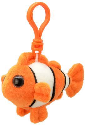 """Брелок рыба Wild Planet """"Рыба-клоун"""" искусственный мех пластик оранжевый белый черный 9 см K8320"""