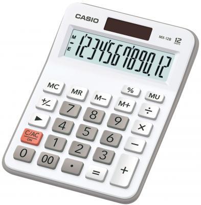 Калькулятор бухгалтерский CASIO MX-12B-WE 12-разрядный белый калькулятор casio dx 12b 12 разрядный коричневый черный