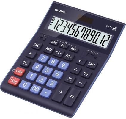 Калькулятор настольный CASIO GR-12BU 12-разрядный синий casio casio gr 7900nv 2